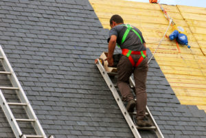 slate roof commercial roofing worker installation